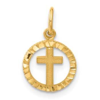 14K Eternal Life Cross in Circle Charm