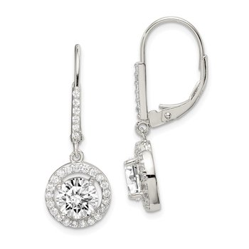 Sterling Silver Rhodium-plated Polished Leverback CZ Earrings