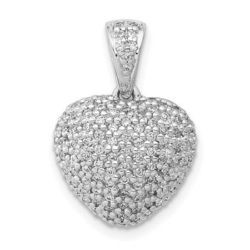 14k White Gold 3/8ct. Diamond Heart Pendant