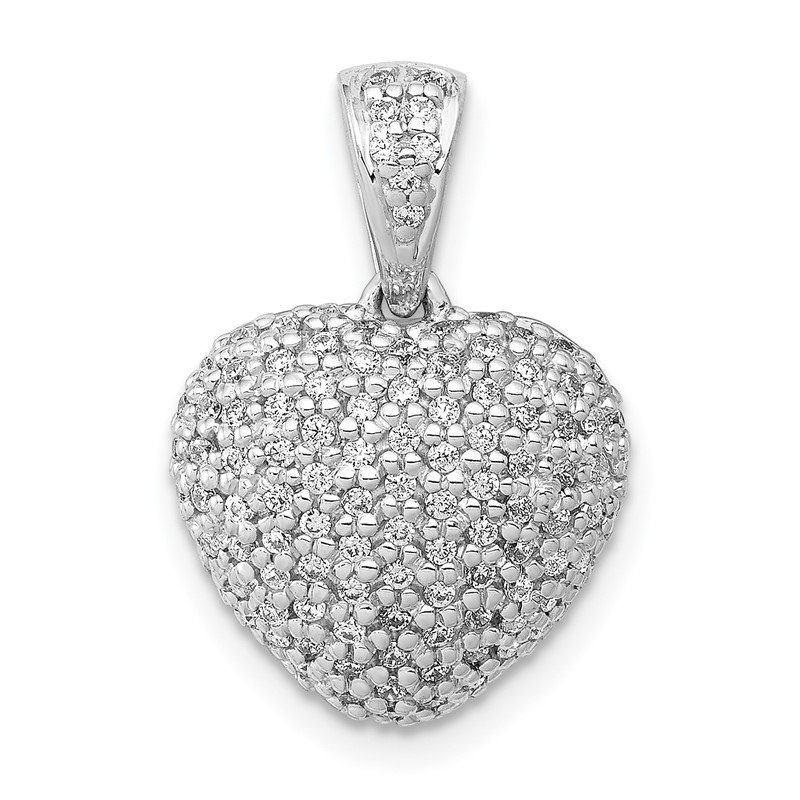 Quality Gold 14k White Gold 3/8ct. Diamond Heart Pendant