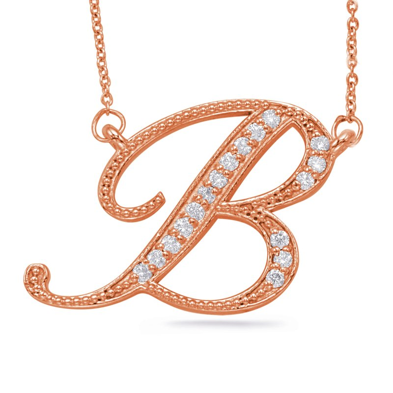S. Kashi  & Sons Rose Gold Diamond Intial B Pendant