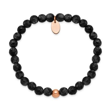 Stainless Steel Polished Rose IP-plated Black Onyx Stretch Bracelet