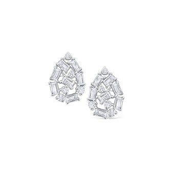 Diamond Mosaic Teardrop Stud Earrings in 14 Kt. Gold