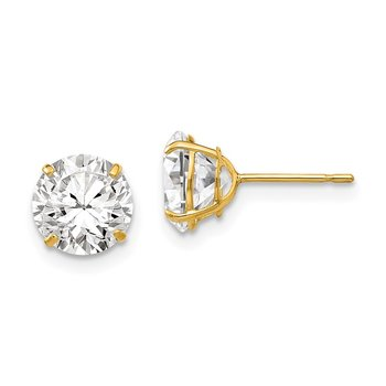 14k 7mm Round CZ Post Earrings