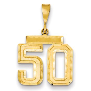 14k Medium Diamond-cut Number 50 Charm