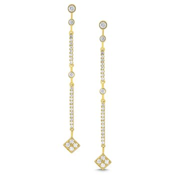 14K Gold and Diamond Linear Earrings