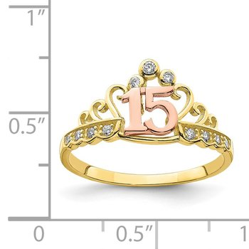 10K Two-Tone CZ 15 Crown Ring