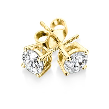 Four Prong Diamond Studs in 14k Yellow Gold (3/8ct. tw.)