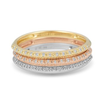 14K YG, WG and RG Diamond Wedding or Anniversary Band