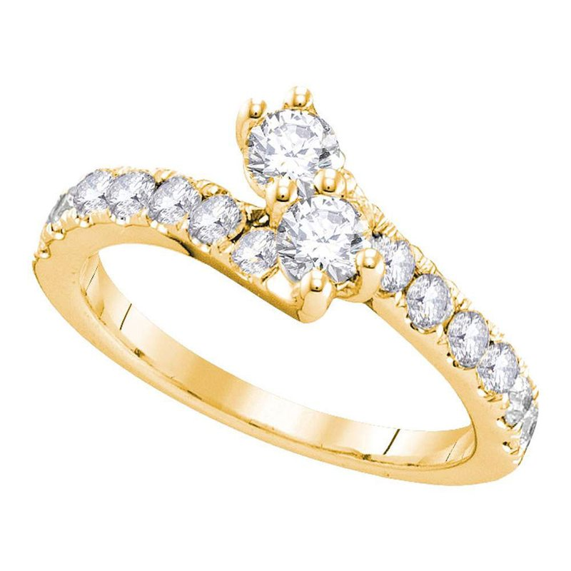 Kingdom Treasures 14kt Yellow Gold Womens Round Diamond 2-stone Hearts Together Bridal Wedding Engagement Ring 3/4 Cttw (Certified)