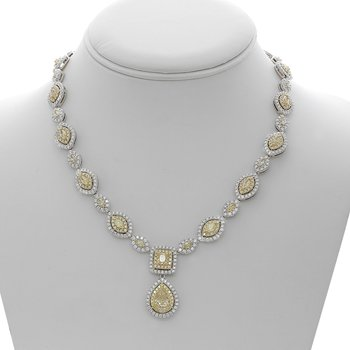 Two Tone Double Halo Yellow Diamond Necklace