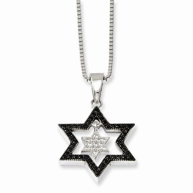 Quality Gold Sterling Silver & CZ Brilliant Embers Star Necklace