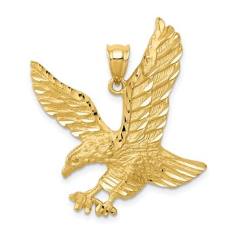 14k Satin Diamond-cut Eagle Pendant
