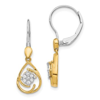 14k Two-tone Diamond Teardrop Dangle Leverback Earrings