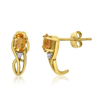 14K Yellow Gold Curved Citrine and Diamond Earrings