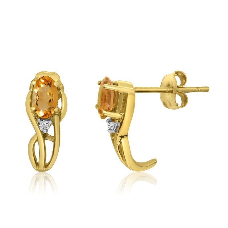 Color Merchants 14K Yellow Gold Curved Citrine and Diamond Earrings