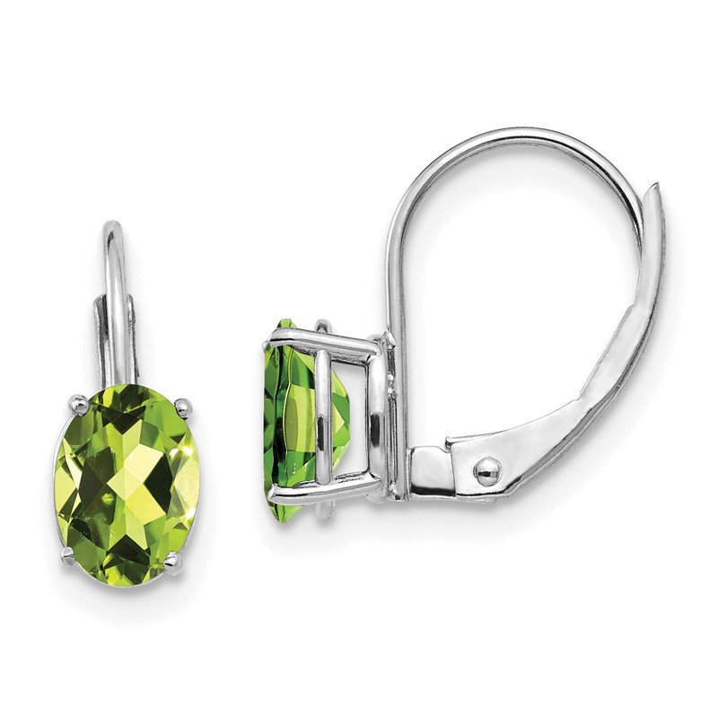 Quality Gold 14k White Gold 7x5mm Oval Peridot Leverback Earrings