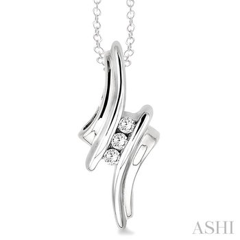 silver channel set diamond pendant