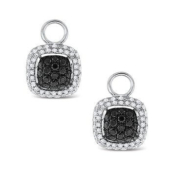 KC Designs Black And White Diamond Square Earring Charms in 14k White Gold with 134 Diamonds weighing .74ct tw.