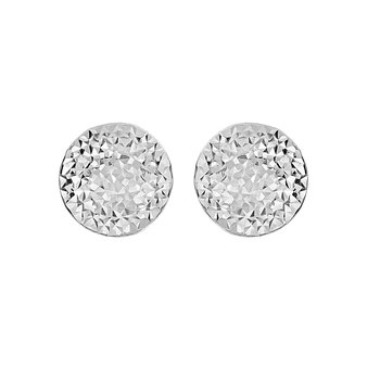 Silver Domed Faceted Earring