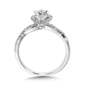 Crisscross Marquise Halo Engagement Ring