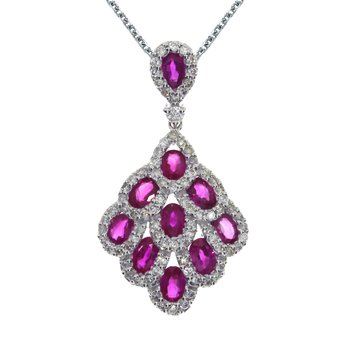 14k White Gold Ruby and Diamond Cascading Fan Pendant