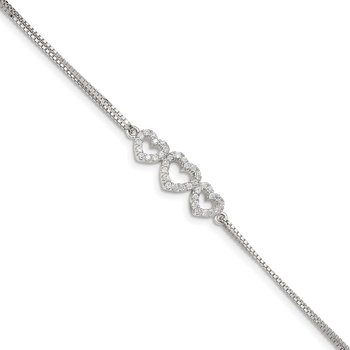 Sterling Silver Rhodium-plated Polished CZ Three Linked Hearts Bracelet