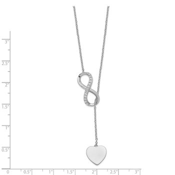Sterling Silver RH-plated CZ Infinity/Heart w/2in ext. Y-Necklace