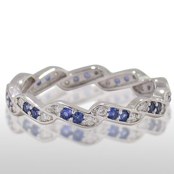 Ladies' White Gold Sapphire and Diamond Ring