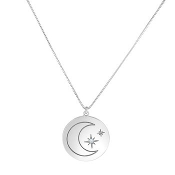 Silver Moon & Stars Diamond Accent Necklace