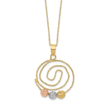 14k Tri-color D/C Beads on Spiral Pendant Necklace