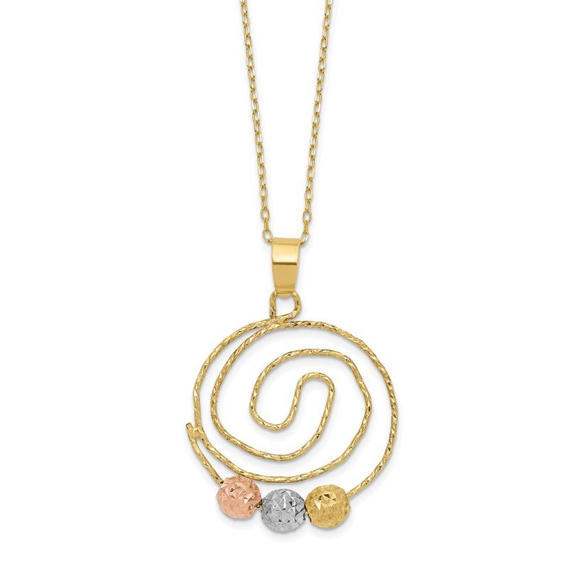 Quality Gold 14k Tri-color D/C Beads on Spiral Pendant Necklace