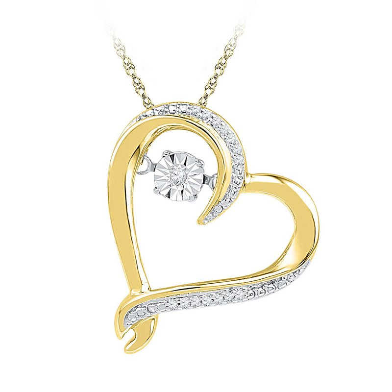 Kingdom Treasures 10kt Yellow Gold Womens Moving Twinkle Round Diamond Heart Pendant 1/20 Cttw