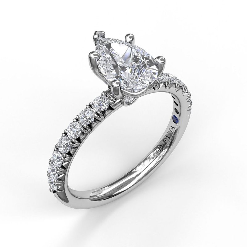 Five-Prong Pear Cut Solitaire Ring With Pave
