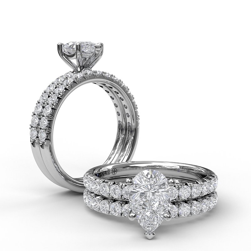 Fana Five-Prong Pear Cut Solitaire Ring With Pave