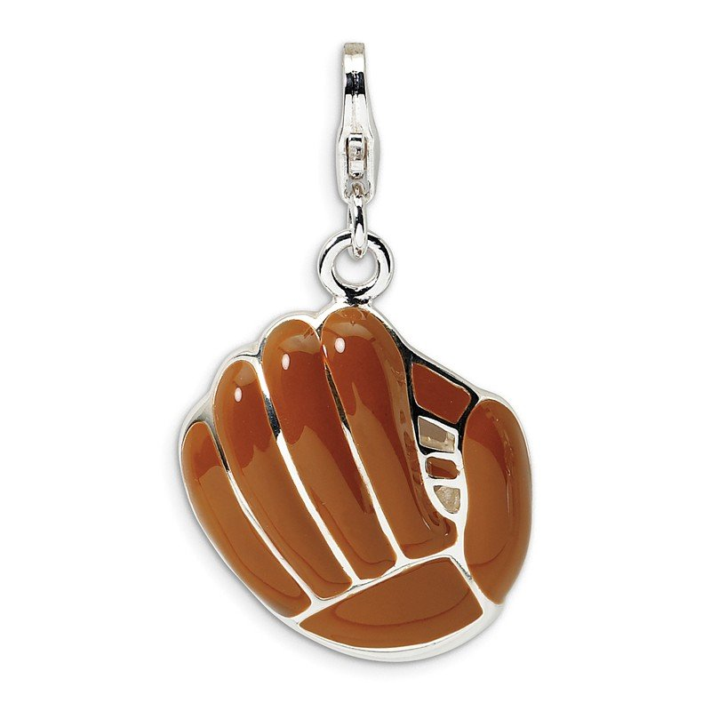 Quality Gold Sterling Silver 3-D Enameled Brown Baseball Mit w/Lobster Clasp Charm