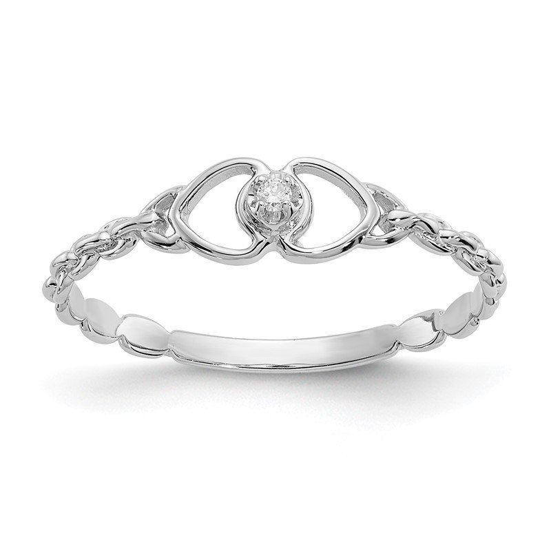 Lester Martin Online Collection 14k White Gold AA Diamond heart ring
