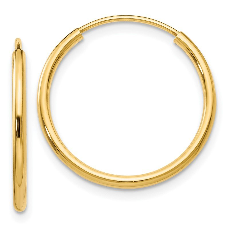Quality Gold 14k 1.5mm Polished Round Endless Hoop Earrings