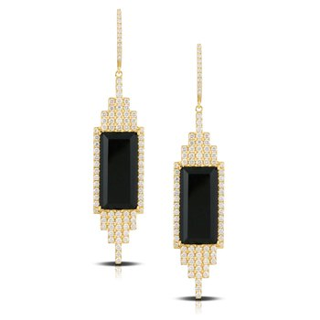 Art Deco Style Gatsby Onyx & Diamond Earrings