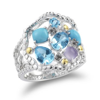 Sterling Silver and 14K Yellow Gold accents Ring with Precious and Semi-Precious stones