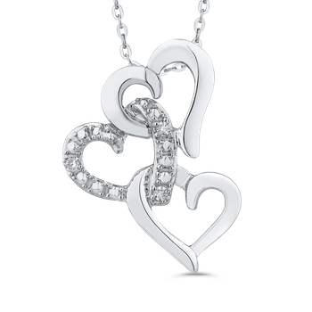 10K White Gold .03 Ct Diamond Heart Pendant with Chain