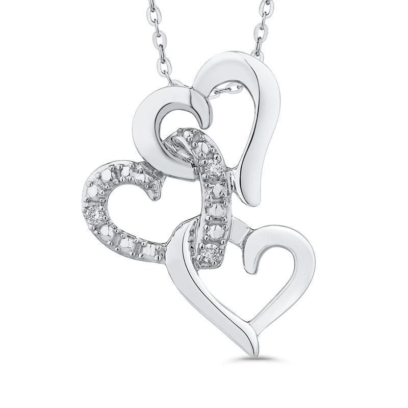 Essentials 10K White Gold .03 Ct Diamond Heart Pendant with Chain