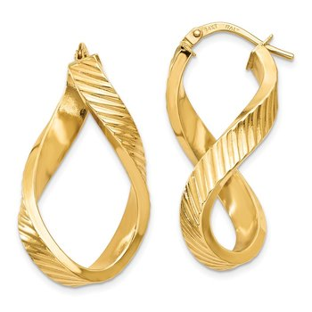 14K Twisted Textured Oval Hoop Earrings