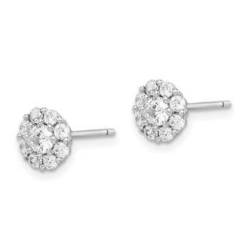 Sterling Silver Rhodium-plated Polished CZ Halo Post Earrings