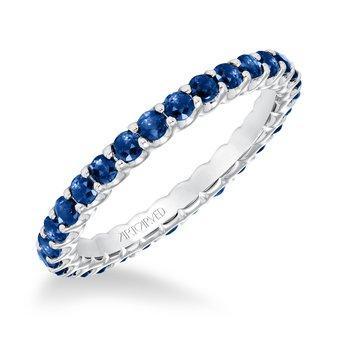 14K White Gold Sapphire Wedding Band