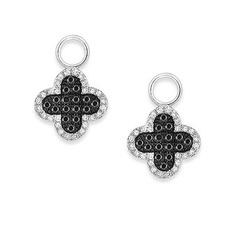 Black And White Diamond Clover Earring Charms in 14k White Gold with 88 Diamonds weighing .34ct tw.