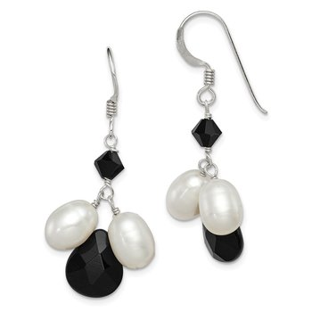 Sterling Silver Onyx/FW Cultured White Pearl/Black Crystal Earrings
