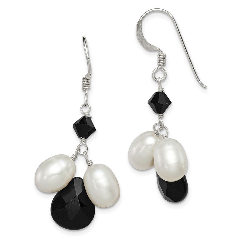 Quality Gold Sterling Silver Onyx/FW Cultured White Pearl/Black Crystal Earrings