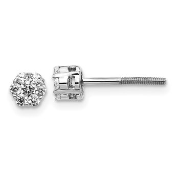 14k White Gold Diamond Cluster Post Earrings