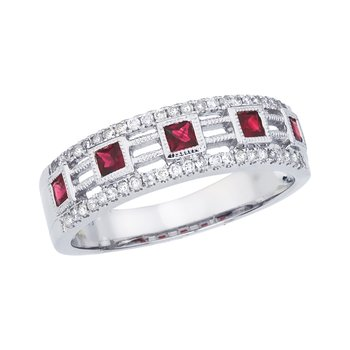 14k White Gold Princess Ruby Band
